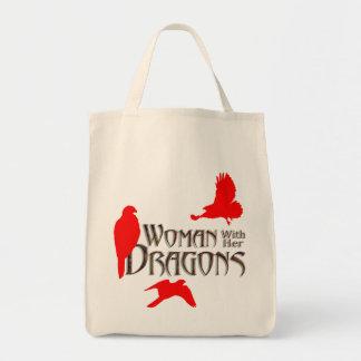 """ドラゴン、"""""""" """"女性行商人"""" """"女性falc肉食鳥 トートバッグ"""