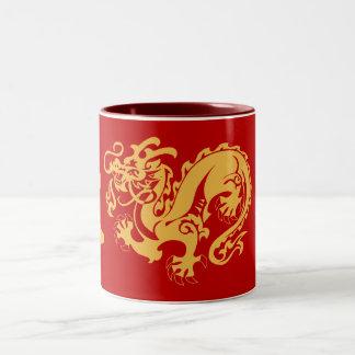 ドラゴン、幸運、友情のコーヒー・マグ ツートーンマグカップ
