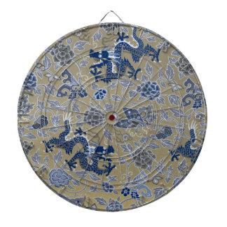 ドラゴン、花、蝶-鈍い金ゴールドの青 ダーツボード