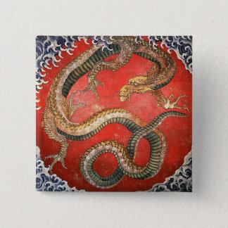 ドラゴン、Hokusaiの日本人のファインアート 5.1cm 正方形バッジ