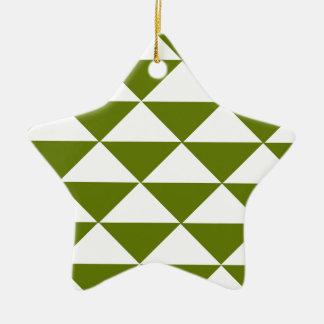 ドラブの緑および白い三角形 セラミックオーナメント