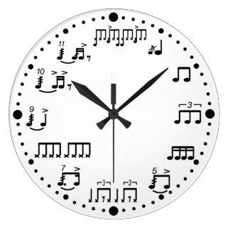 ドラマーのためのドラムノートおよび基礎音楽時計 ラージ壁時計