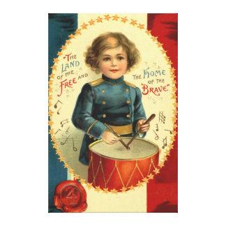 ドラマーの男の子の星の赤白青 キャンバスプリント