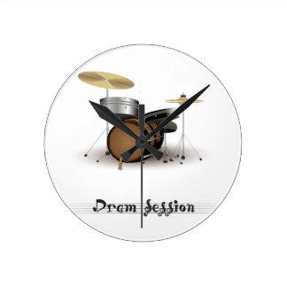 ドラムの会議 ラウンド壁時計