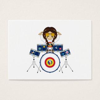 ドラムを持つヒッピーの男の子 名刺