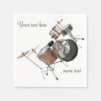 ドラムドラマーのドラム一定の楽団の楽士 スタンダードカクテルナプキン