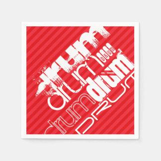 ドラム; 深紅の赤のストライプ スタンダードカクテルナプキン