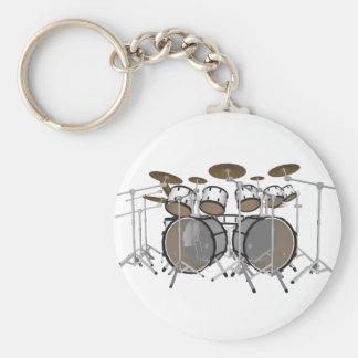 ドラム: 白いドラムキット: 3Dモデル: キーホルダー