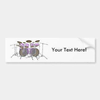 ドラム: 紫色及び白いドラムキット: 3Dモデル: バンパーステッカー