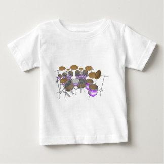 ドラム: 紫色及び白いドラムキット: 3Dモデル: ベビーTシャツ