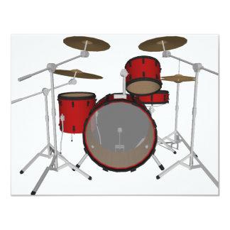 ドラム: 赤いドラムキット: 3Dモデル: カード