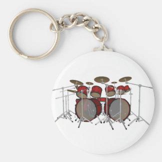ドラム: 赤いドラムキット: 3Dモデル: キーホルダー