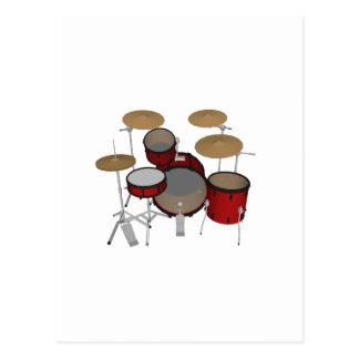 ドラム: 赤いドラムキット: 3Dモデル: ポストカード