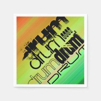 ドラム; 鮮やかな緑、オレンジ、及び黄色 スタンダードカクテルナプキン