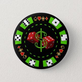 ドルおよびサイコロのポーカー用のチップ 5.7CM 丸型バッジ
