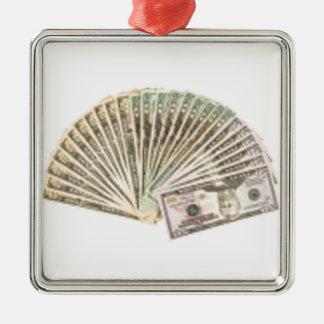 ドルのファン シルバーカラー正方形オーナメント