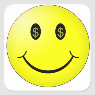 ドルの記号の目が付いている微笑の顔 スクエアシール