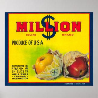 ドルのAppleの百万のラベル- Walla Walla、WA ポスター