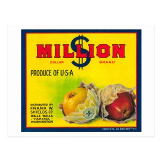 ドルのAppleの百万のラベル- Walla Walla、WA ポストカード