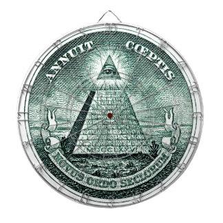 ドルのIlluminatiのピラミッドの目 ダーツボード