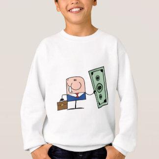 ドルを握っている漫画の落書きのビジネスマン スウェットシャツ