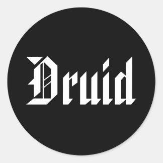 ドルイド教司祭。 良いゴシック様式フォント。 白黒 ラウンドシール