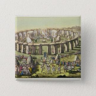 ドルイド教司祭、plのStonehenge、か円の寺院 5.1cm 正方形バッジ