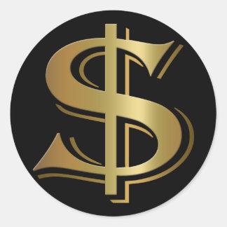 ドル記号のステッカー ラウンドシール