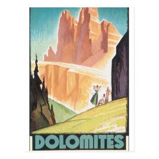 ドロマイトのヴィンテージ旅行ポスター ポストカード