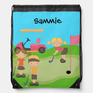 ドローストリングのバックパックのバッグをゴルフをしている子供 ナップサック