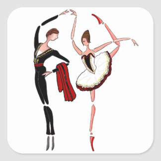 ドンQドン・キホーテバレエのカップルKITRIのバレリーナ スクエアシール