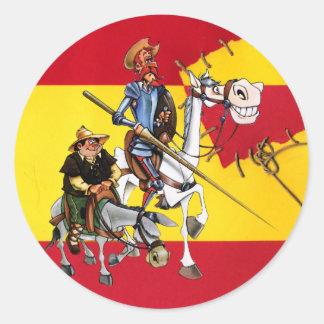ドンQUIJOTE&SANCHO -風車のスペイン旗 丸形シールステッカー