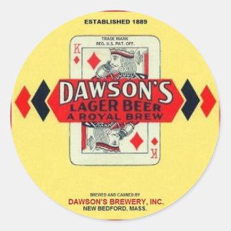 ドーソンのラガービールニューベッドフォードマサチューセッツ ラウンドシール