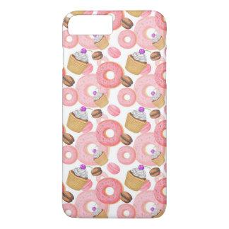 ドーナツおよびカップケーキのデザートパターン iPhone 8 PLUS/7 PLUSケース