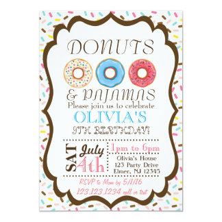 ドーナツおよびパジャマの招待状 カード