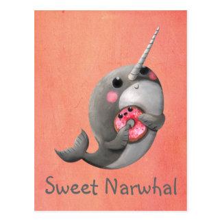 ドーナツとの内気なNarwhal ポストカード