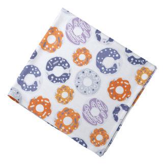 ドーナツのポップアートのカッコいいの青いオレンジパターン バンダナ