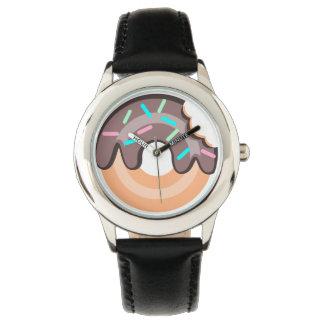 ドーナツステンレス鋼の黒の腕時計 腕時計