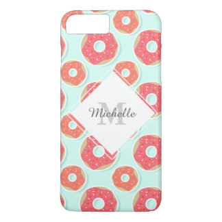 ドーナツドーナツパターン、ピンクおよび青 iPhone 8 PLUS/7 PLUSケース