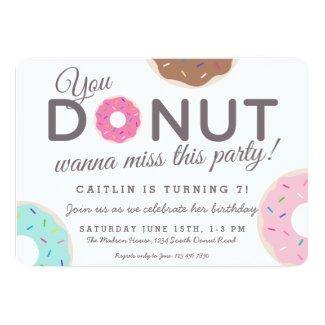 ドーナツパーティの招待状|ドーナツ誕生会 12.7 X 17.8 インビテーションカード