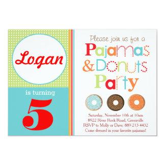ドーナツ及びパジャマのパーティの招待状(男の子) カード