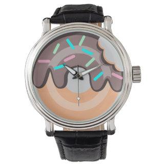 ドーナツ黒いヴィンテージ革腕時計 ウオッチ