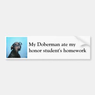 ドーベルマン犬および名誉学生のユーモア バンパーステッカー