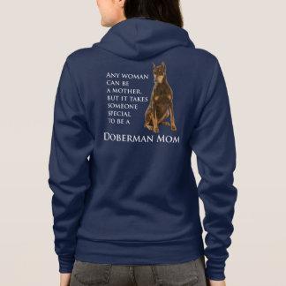 ドーベルマン犬のお母さんのフード付きスウェットシャツ パーカ