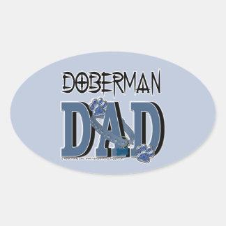 ドーベルマン犬のパパ 楕円形シール