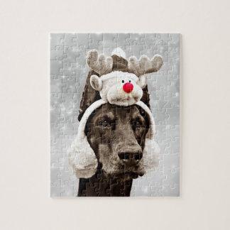 ドーベルマン犬の冬のポートレート ジグソーパズル