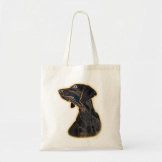 ドーベルマン犬の子犬のデジタルアートワークのポートレート トートバッグ