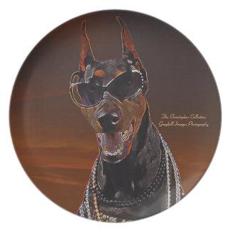 ドーベルマン犬の日没の芸術 ディナー皿