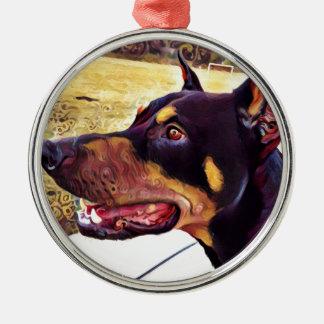 ドーベルマン犬の渦巻のペンキ2 メタルオーナメント