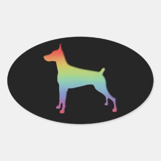 ドーベルマン犬の虹のギフト 楕円形シール